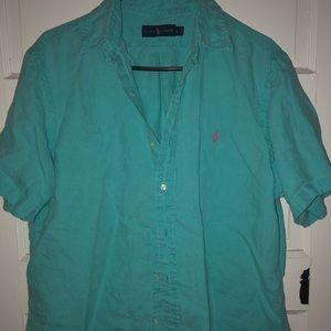 Blue Short Sleeve linen Polo